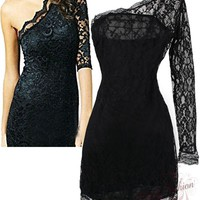 Sexy One shoulder Lace Trim Evening Dresses S M L XL Black