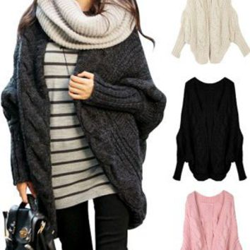 Happy Fashionable Deals! - Stylish Women Knitted Batwing Open Front Loose Sweater Jacket Wrap Cape Cardigan Pink