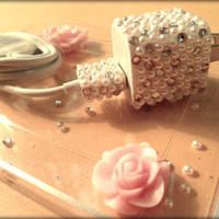 Bling rhinestone iPhone 3 4 4s 5 ipad ipod itouch apple wall adapter charger & usb cable with white pearls pink white rhinestone crystals