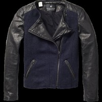 Woolen biker jacket with leather sleeves - Jackets - Scotch &amp; Soda Online Shop