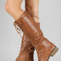 Lug-11HI Military Lace Up Knee High Boot