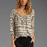 Velvet Crosshatch Harmony Top in Cream/Black from REVOLVEclothing.com