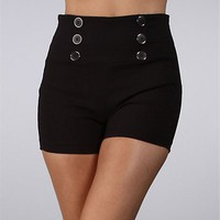 Pre-Order: Black High Waisted Button Shorts