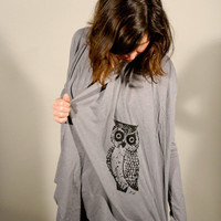 SALE---Owl Slub Cardigan Throw Over Elephant Grey Small or Black/ Small or Large