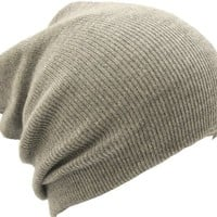 Slouch Slouchy Beanie Hat Ribbed Skull Cap Ski Hat Light Grey