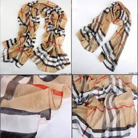 Women's Fashion Long Soft Wrap Lady Shawl Silk Grid Chiffon Free Shipping !! !!
