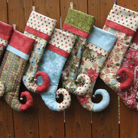 Elfin Toe Stockings Personalized by bungalowquilts on Etsy