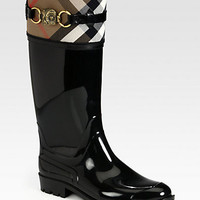 Burberry - Aberdale Animal-Detail Canvas Rain Boots