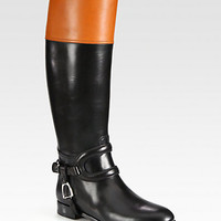 Ralph Lauren Collection - Sabella Two-Tone Leather Riding Boots
