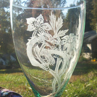 Garden Dragon Hand engraved tall green by GlassGoddessNgraving