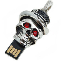 16 GB Crystal Silver cute Jewelry Skull  pendant USB by eworldhut