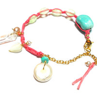 Waxed Coral knotted Friendship Bracelets - sleeping beauty turquoise quartz point gold plated chain freshwater pearls mother of peal heart