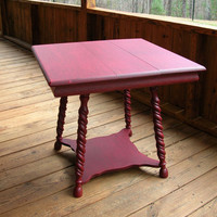 Vintage Side Table Red Shabby Chic Farmhouse