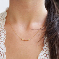 Ahead Of The Curve - 14k Gold Filled Curved Bar Necklace from Made By Maru