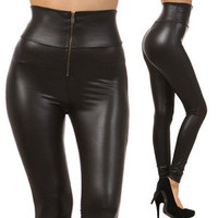 Black Matt High Waist Liquid Leggings Faux Leather Vinyl Wet Shiny Hot Pants