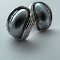 Gunmetal and Chrome Atomic Retro Earrings by GiltyGirlVintage