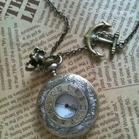 Steampunk Pocket Watch necklace Roma number by Victorianstudio