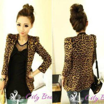 Women's Shoulder Pads Leopard Suit Slim Long Sleeve Jacket Coat 95