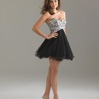 Black Beautiful Reflection Strapless Lace Up Short Prom Dress - Unique Vintage