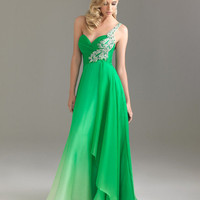 Emerald Ombre Chiffon Embellished One Shoulder Sweetheart Prom Dress - Unique Vintage