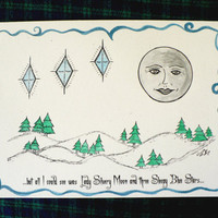 Alternative / Folk - Winter Blue Starts Greeting Card w / envelope - Recycled Paper - IntricateKnot