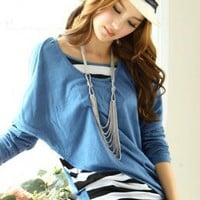 Blue Stripe Two Pieces Bat-wing Knit Blouses : Wholesaleclothing4u.com