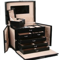 Happy Home Deals! - SHINING IMAGE tea2 HUGE BLACK LEATHER JEWELRY BOX / CASE / STORAGE / ORGANIZER WITH TRAVEL CASE AND LOCK