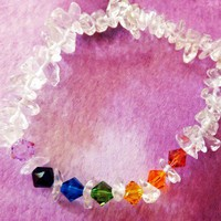 Chakra Clear Quartz Crystal Stretch Bracelet