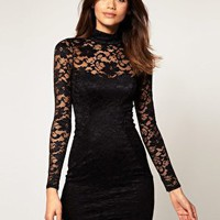 ASOS | ASOS Lace Bodycon Dress With Open Back at ASOS