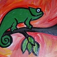 9x12 Gecko Original Painting, Kids Wall Art, Acrylic Gecko Art, Decorative Art, Fine Art