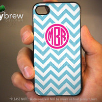 Personalized iPhone 4 4s Hard Case - Chevron Blue Pink Monogram - Phone Cover IP4C