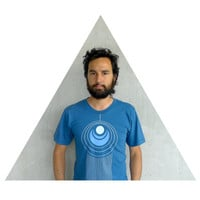 Mens tshirt - organic cotton - fall fashion - S/M/L/XL - geometric peacock feather print on American Apparel galaxy blue - TAIL FEATHER