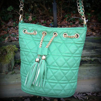 Mint Green Tufted Cross Body Bag Satchel Gold Chain Strap Tassel PRETTY