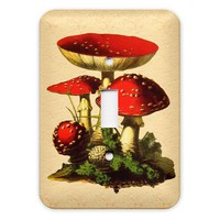 Red Mushroom Light Switch Plate Cover by KittyinPinx on Etsy