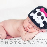 Skull and Crossbones Beanie With Hot Pink Bow Clip by blessed2009