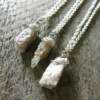 In the Rough Necklace - Raw Iridescent Pale Green Brown Kyanite Nugget Crystal Wire Wrapped on Silver Chain - Nature Boho Rustic Gift Idea