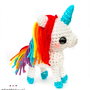 adorably kawaii | kawaii rainbow white and blue unicorn amigurumi plush - MADE TO ORDER