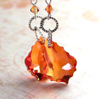 Copper Orange Crystal Earrings Sterling Silver Swarovski Chili Pepper Crystal Earrings Red Amber Earrings