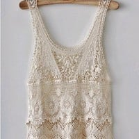 Vintage Southwestern White Crochet Lace Flower Pattern Tunic Blouse