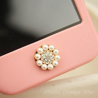 1PC Bling Crystal Pearl Flower Apple iPhone Home Button Sticker for iPhone 4,4s,4g, iPhone 5, iPad, Cell Phone Charm