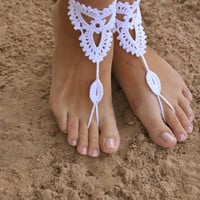 Beach wedding White Crochet wedding Barefoot Sandals, Nude shoes, Foot jewelry, Bridal, Victorian Lace, Sexy, Yoga, Anklet