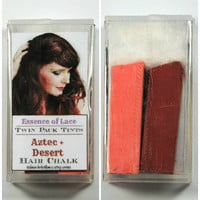 AZTEC and DESERT - Hair Chalk // Twin Pack Tints // Red Pink Dip Tie Dye // Boho Emo Scene Pastel Set // Safe for Human Hair