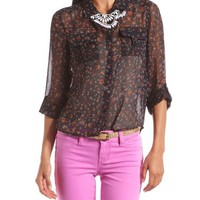Floral Hi-Low Button-Down Blouse: Charlotte Russe