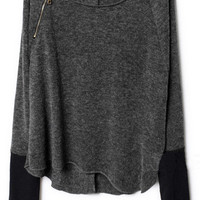 ROMWE | Zippered Dark Grey Jumper, The Latest Street Fashion