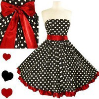 POLKA DOT Rockabilly 50s FULL SKIRT Swing Dress M L XL 3X New Strapless Pinup POLKA DOT Rockabilly 50s FULL SKIRT Swing Dress M L XL 3X New Strapless Pinup - eBay (item 290628763843 end time Dec-04-11 13:58:55 PST)