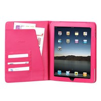 High Quality Hot Pink Leather Cover Protective Case Jacket Magnetic Closing Flap Credit Card ID Pas