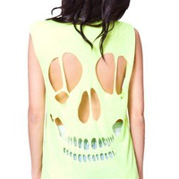 Skulls Tee in lime  | Show Pony Fashion online shopping