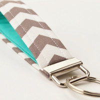 Handmade Chevron Key Chain, Fabric Key Fob, Key Strap -  Smokey Grey and Teal