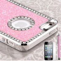 Pandamimi iphone 5 case - Deluxe Baby Pink Diamond Rhinestone Glitter Bling Chrome Hard Case Cover for Apple iPhone 5 5G ,Screen Protector and Stylus