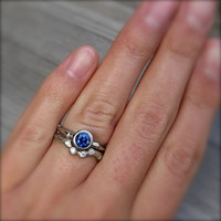 Blue Sapphire Twig Engagement Ring, .66ct